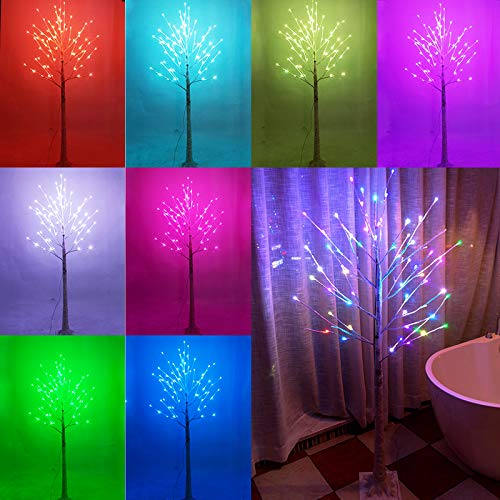 16 Color Changing Lit Birch Tree Lighted, Multicolor 5 Feet Artificial Twig Bonsai Tree Light LED Fake Tree Lamp Christmas Light for Wedding, Halloween, Holiday, Party, Bedroom Decor-4.9ft(RGB)