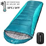 Bessport Sleeping Bag Winter | 14℉/-10℃ Extreme 3-4 Season Warm & Cool Weather Adult Sleeping Bags Large | Lightweight, Waterproof for Camping, Backpacking, Hiking  (Polyester Taffeta Lined -Green)