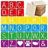 30 Pieces 4 Inch Scrabble Style Tile Stencil Letters with 50 Pieces Unfinished Square Wood 4 Inch for Home Decor & DIY Projects, Family Names Painting, Writing, Tile Wall Decor Art, Photo Props