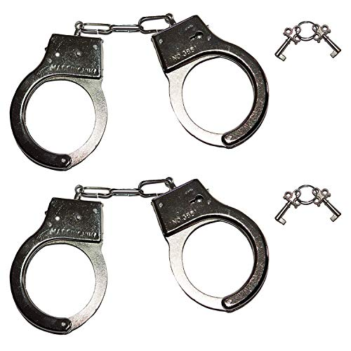 TrendClub100® 2X Esposas de Metal para Disfraz de policía con Dos Llaves (sobre)