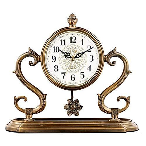 NBVCX Furniture Decoration Mantel Clock Metallic Copper Living Room Light Luxury Large Quartz Clock Decoration Desk Clock with Pendulum Feng Shui Decoration Mantel Office Desk Shelf & Home Gift