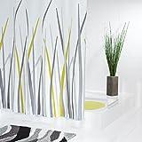Ridder Bad Textil Duschvorhänge, Gras Design, 180 X 200 cm, Weiß/Grau / Senf