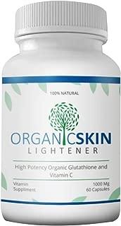 Organic Skin Lightener - High Potency Organic Glutathione and Vitamin C - Whitening Capsule - Skin Whitener - Lightening Pills - Vitamins Supplement - 60 Capsules