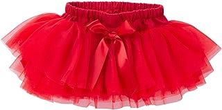 Anbaby Baby Girls Soft Tutu Skirt Toddler Ruffled Pants Diaper Cover Red 3-6M