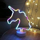Artpad 7 Luz de noche colorida de unicornio con batería, soporte extraíble encantador Lámpara de letreros de neón de unicornio para niños, Navidad, fiesta Decoración de bodas Iluminación