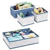 mDesign 4er-Set Kinderzimmer Aufbewahrungsbox aus Polypropylen – Stoff Aufbewahrungsboxen für Babysachen – auch als Kinderschrank Organizer oder für Schubladen, Wickeltische – blau...
