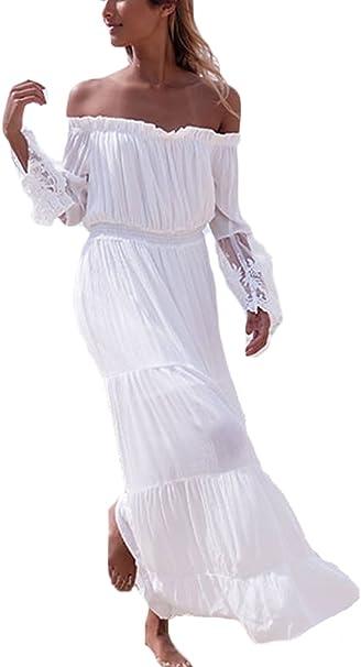 Kleider hippie lange weiße Weisse Lange