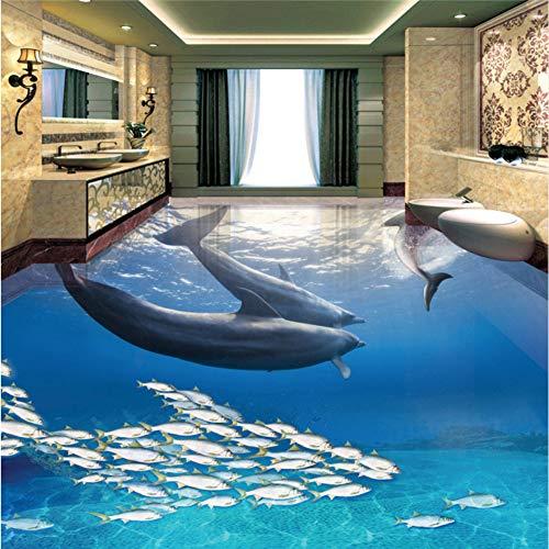 Shuangklei Dolfijn Onderwater Wereld 3D 3D Badkamer Vloeren Aangepaste Nonwovens Achtergrond Behang 350 x 250 cm.