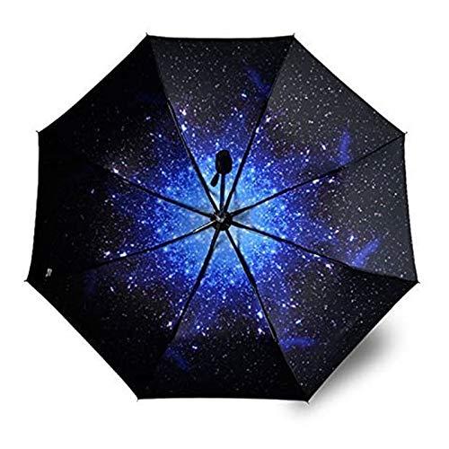 Paraguas Creativo, a Prueba de Viento Reforzado, Lluvia y Lluvia Paraguas de Doble Uso, patrón de Cielo Estrellado y Mango a Prueba de deslizamientos, fácil de Llevar, Mujeres, Hombres, niños