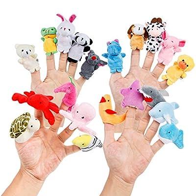 Oiuros 20pcs Different Cartoon Animal Finger Puppets Soft Velvet Dolls Props Toys Easter Basket Stuffers by Oiuros