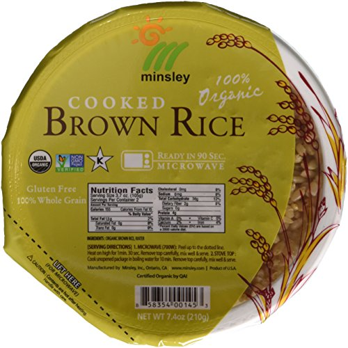 Minsley Cooked Brown Rice Bowl 100 Percent Organic Microwave Ready in 90 Seconds 74Ounce Bowls Pack of 6