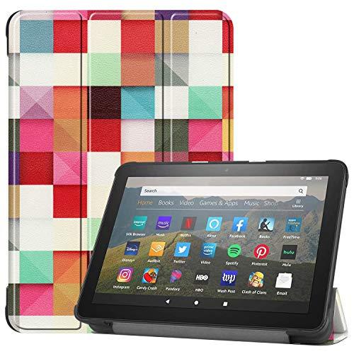 HoYiXi Custodia per All-new Fire HD 8 Plus 2020   Fire HD 8 2020 Ultra Sottile Case in pelle Cover con Supporto Funzione Custodia di Tablet per Amazon Fire HD 8 Plus Fire HD 8 2020 - cubo