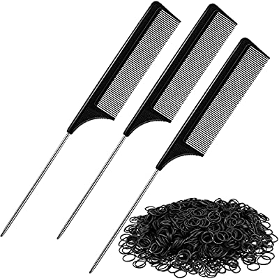 3 Pieces Rat Tail Hair Comb Stainless Steel Pintail Comb 2 Bag Mini Rubber Band Elastic Hair Band for Salon, Adult, Girl and Boy Hair Styling Tool