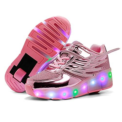 AMXSML Led Luces Zapatos con Ruedas para Pequeños Niños y Niña Automática Calzado de Skateboarding Aire Libre Zapatillas de Deporte Moda,Rosado,29EU