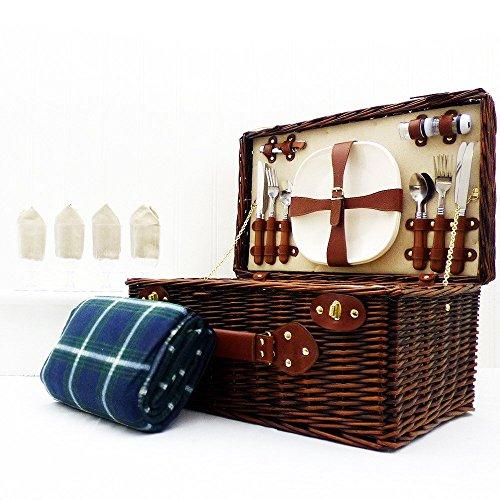 Paignton 4 Personen Weidenpicknickkorb Fessel mit traditionellen grünen wasserdichten Decke - Perfektes Geschenk für Mütter Tag