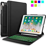"""IVSO New iPad 9.7"""" 2018/2017 Keyboard Case With Stylus Holder, Case with Keyboard(QWERTY Layout), 7 LED Backlit Colors 3 Levels Brightness Control DETACHABLE Bluetooth Keyboard Case with Automatic Sleep/Wake for Apple New iPad 9.7 2018/2017/iPad Pro 9.7/iPad AIR 2/iPad AIR 9.7 inch Tablet, Black"""