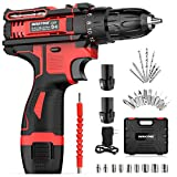 Cordless Drill, WAKYME 12.6V Power Drill Set, Electric Drill with 2 Lithium-Ion Batteries, 30 Nm, 18+3 Clutch, 3/8' Keyless Chuck and Variable Speed for Drilling Wall, Bricks, Wood