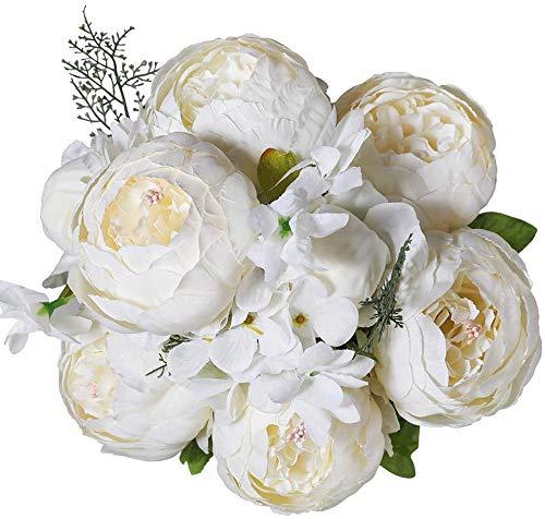 Decpro 1 Confezione di Bouquet di peonie Artificiali, Fiori di peonie Grandi in Seta da 19'' con boccioli per la Decorazione dell'ufficio di casa di Nozze, centrotavola(Bianco Crema)