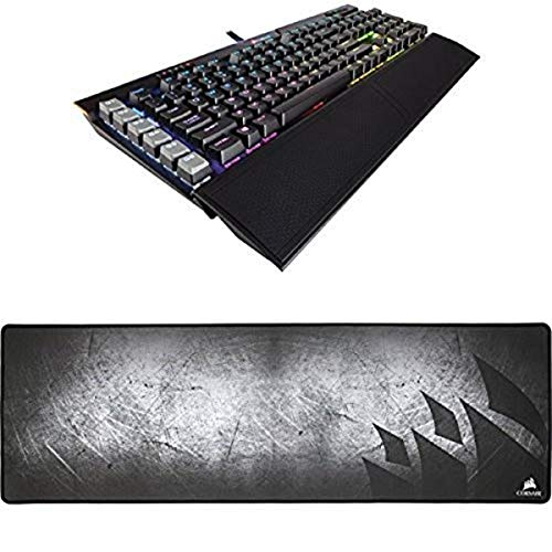 CORSAIR K95 RGB PLATINUM Mechanical Gaming Keyboard - USB Passthrough & Media Controls - Fastest Cherry MX Speed - RGB LED Backlit - Black Finish and CORSAIR MM300 - Extended Mouse Mat