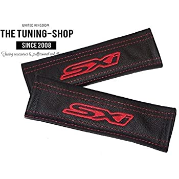 2 x Seat Belt Covers Pads Red Leather Z4 Black Embroidery