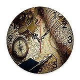 GEEVOSUN Reloj de Pared Redondo Reloj silencioso Que no Hace tictac Mapas náuticos Antiguos Herramientas de navegación Antiguas, mapas, brújulas, Libros de Registro, decoración del hogar para Sala de