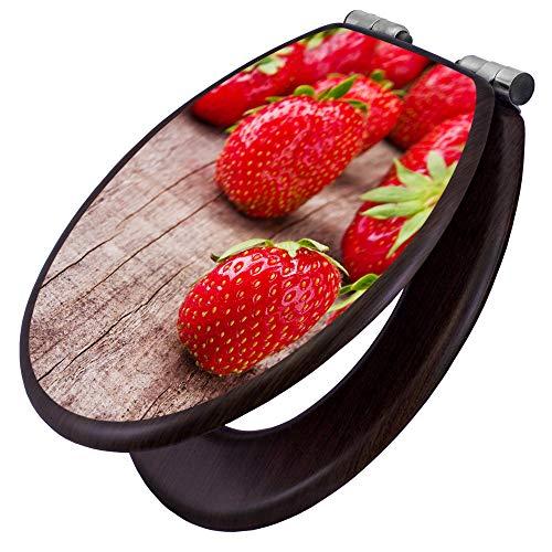 banjado Toilettensitz mit Absenkautomatik | WC-Sitz mit Motiv Erdbeeren | Toilettendeckel MDF Holzkern | Klodeckel mit Metall Scharnieren