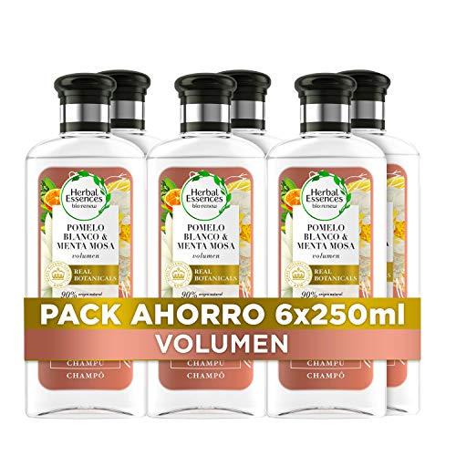 Herbal Essences bio:renew Pomelo Blanco Y Menta Mosa Volumen Champú, En Colaboración Con El Real Jardín Botánico De Kew 6 x 250
