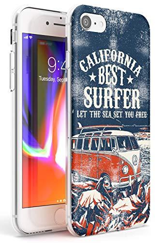 California Best Surfer Slim Funda para iPhone 7 Plus TPU Protector Ligero Phone Protectora con Citas Pasión De Viajar Aventuras Motivacional Citar