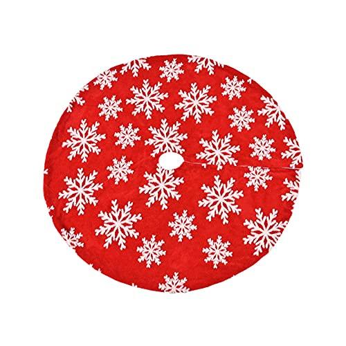 Falda de árbol de Navidad, cubierta de base de alfombrilla de árbol, suave felpa, doble capa, protector de alfombra, decoración de fiesta, adorno de Navidad (rojo 90 cm)