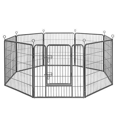FEANDREA Recinzione Recinto per Cani Conigli Animali di 8pz Ferro Grigio 77 x 80 cm PPK88G