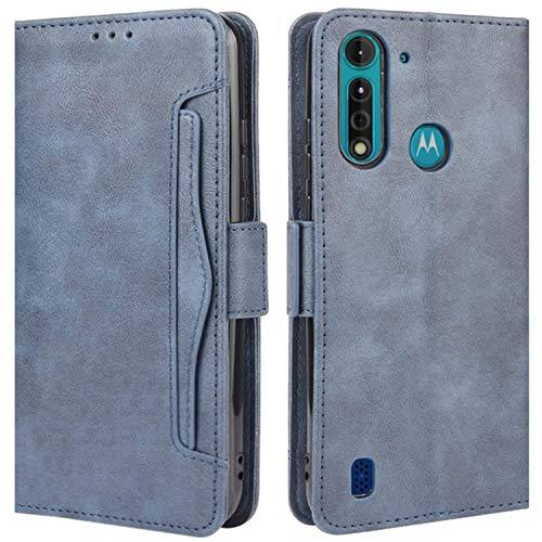 HualuBro Handyhülle für Motorola Moto G8 Power Lite Hülle Leder, Flip Case Cover Stoßfest Klapphülle Handytasche Schutzhülle für Motorola Moto G8 Power Lite Tasche (Retro Blau)