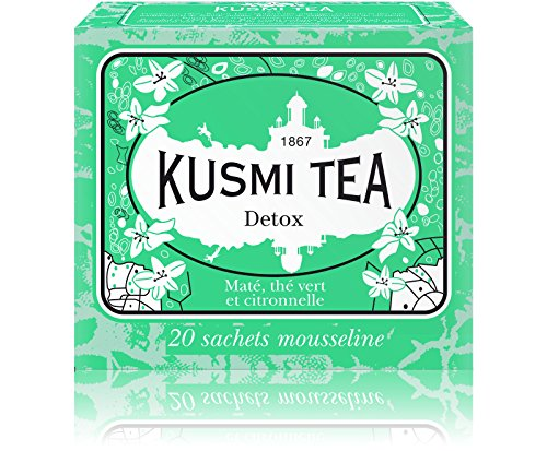 Kusmi Tea - Detox - Natural Green Tea with Lemongrass, Scent of Lemon and Blend of Yerba Mate - All Natural Premium Loose Leaf Green Detox Tea in 20 Eco-Friendly Muslin Tea Bags