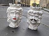 Testa di moro in ceramica siciliana'bianco' 14 cm COPPIA baffo&rossetto'PERSONALIZZATE CON DEDICA A VOSTRA SCELTA'