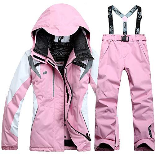 BPX Damen Einteiliger Skianzug Wasserdicht Winddicht Herren Schneeanzug Isoliert Ski Overall Jacken und Hosen Anzug Unisex Winter Schneemantel Set (Farbe: Pink, Größe: M)