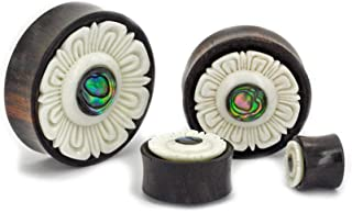Elementals Organics Areng Wood Plugs for Ear – Ear Gauge with Abalone Inlay