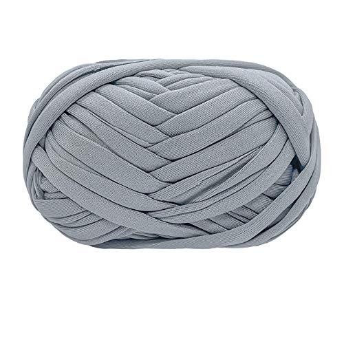 T-shirt fil fil à tricoter tissu crochet tissu pour été main bricolage sac couverture oreiller crochet projets 100g (# 14 Gris clair)