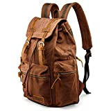 GEARONICd TMkxgj 21L Vintage Canvas Backpack for Men Faux Leather Rucksack Knapsack 15 inch Laptop Tote Satchel School Military Army Shoulder Rucksack Hiking Bag Coffee