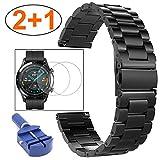 Miimall - Correa de reloj compatible con Huawei Watch GT 2, 46 mm, acero inoxidable, metal, protector de pantalla