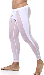 MIZOK Men's Mesh Yoga Tights Pants See Through Compression Workout Leggings
