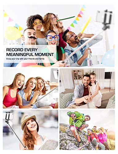 Mpow Selfie Stick, Lightweight Extendable 31.9 Inch Monopod with Bluetooth Remote Compatible iPhone 11/Pro Max/ XS/Max/XR/X/8/8P/7/7P/6S, Galaxy S20/S10/ S10 Plus/S9/8/7/6/Note 10 and More, Black