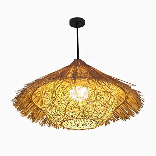Pendant Light Chandelier Lamp Retro Farmhouse Style Bamboo Rattan Bird's Nest Hand Made Straw Hat Ceiling Lamp Restaurant Bar Living Room Study Restaurant Single Head