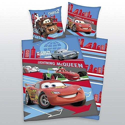 Herding 462922050412 Bettwäsche Disneys Cars, Kopfkissenbezug: 80x80 cm mit Knopfverschluß, Bettbezug: 135x200 cm mit Knopfverschluß, Biber / Flanell
