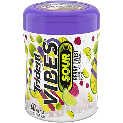 Trident Vibes Sour Sugar Free Gum, Berry Twist Flavor, 1 Go-Cup (40 Pieces Total)