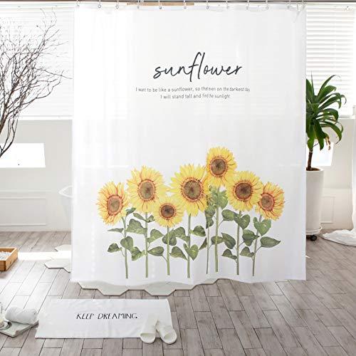 SANGSANGHOO Rustikaler Landhaus-Sonnenblumen-Duschvorhang, gelb, 180,3 x 180,3 cm, Herbst-Hotel-Qualität, wasserabweisend, mit Haken
