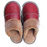 Zapatillas de Cuero para el hogar de Goma Antideslizante de Suela Gruesa para Hombres y Mujeres en Invierno-Vino Tinto_40/41