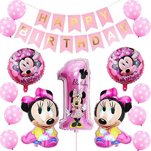 Minnie Globo Decoraciones de Cumpleaños, Minnie Cumpleaños 1 año Themed Decoraciones de Fiesta Mickey Party Globos de Látex Happy Birthday Banner para Niños Fiestas(Rosa)