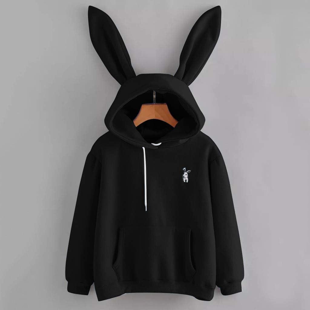 Jaqqra Hoodies for Women Teen Girls Bunny Hooded Sweatshirt Long Sleeve Casual Pullover Tops Cute Tunic Sweatshirts