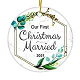 JUPPE Our First Christmas Married 2021 Ornament Mr & Mrs Newlywed Xmas Tree Decoration Romantic Couples Gift (White-2)