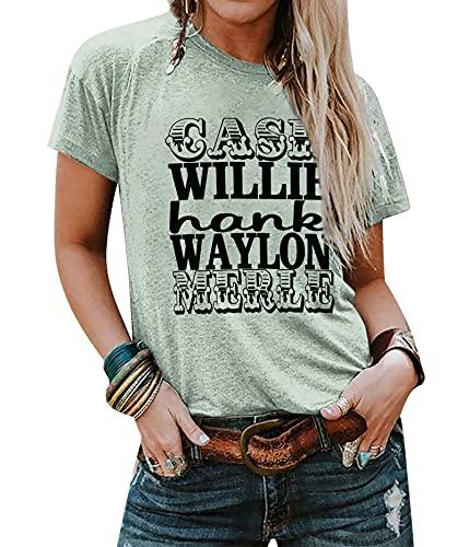 Camiseta feminina de manga curta com estampa de letras Cash Hank Willie and Waylon, Light Green, M