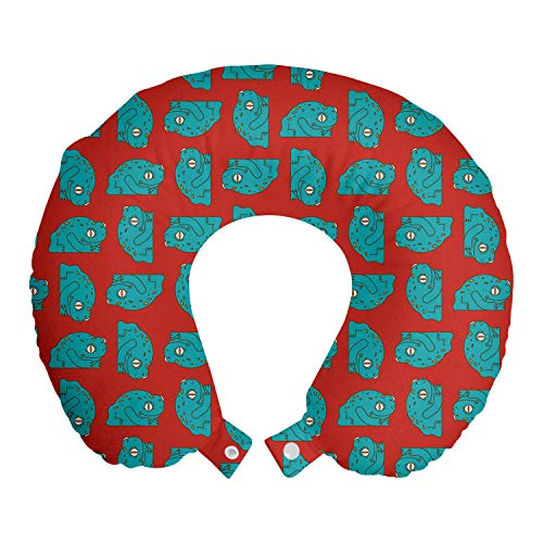 ABAKUHAUS Animales Cojín de Viaje para Soporte de Cuello, El Modelo Amarillo Punteado de Las Ranas, de Espuma con Memoria Respirable y Cómoda, 30x30 cm, Mar Azul Multicolor